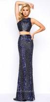 Mac Duggal Sleeveless Two Piece Beaded Column Prom Dress