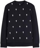 Neil Barrett Fleur De Thunder Embroidered Jersey Sweatshirt