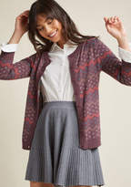 ModCloth Striped Cardigan with Intarsia Detailing in 1X
