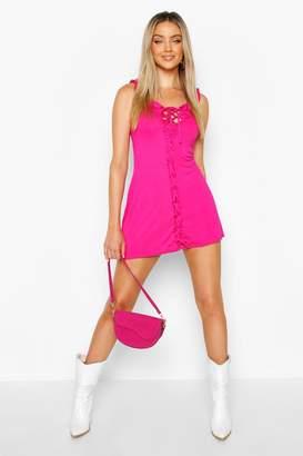 boohoo Ruffle Lace Up Bodycon Mini Dress
