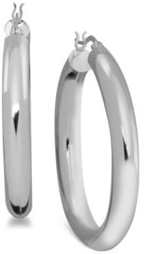 Essentials Polished Tube Medium Hoop in Fine Silver Plate Earrings