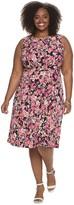 Plus Size Suite 7 Floral Fit & Flare Midi Dress
