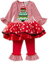Rare Editions Little Girls 2T-6X Christmas Tree Mixed-Media Tutu Dress & Solid Leggings Set