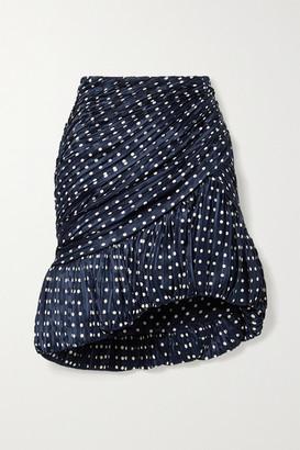 Tory Burch Pleated Polka-dot Silk-satin Jacquard Mini Skirt - Storm blue