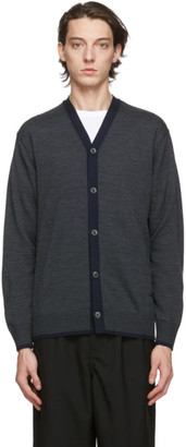 Comme des Garçons Homme Grey Worsted Wool Logo Cardigan