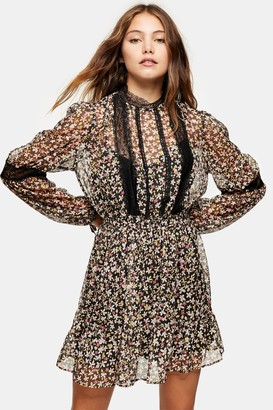 Topshop Print Lace Trim Mini Dress