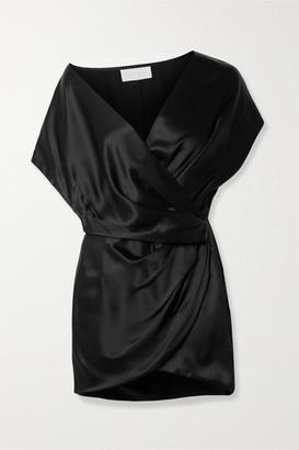 Mason by Michelle Mason Draped Wrap-effect Silk-satin Mini Dress - Black