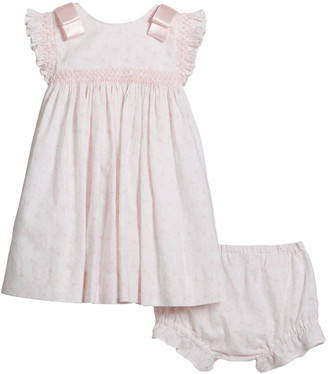 Luli & Me Girl's Butterfly Print Smocked Dress, Size 3-18 Months
