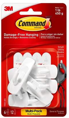 Command Small Sized Utility Hooks Value Pack (6 Hooks 12 Strips) White