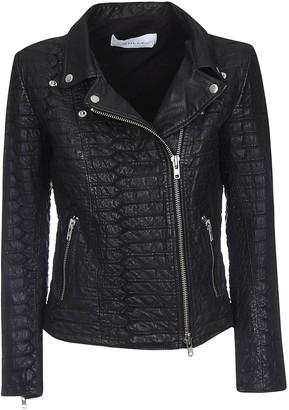 Croco Bully Zipped Leather Jacket