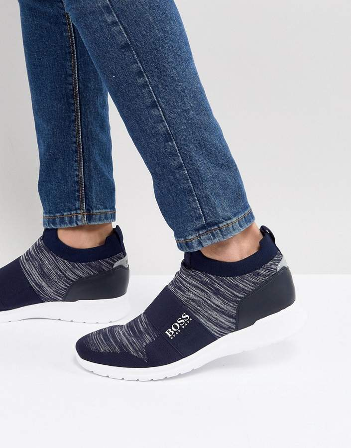 BOSS Knitted Ankle Sneakers in Navy