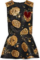 Dolce & Gabbana Appliquéd Embellished Brocade Peplum Top - Gold