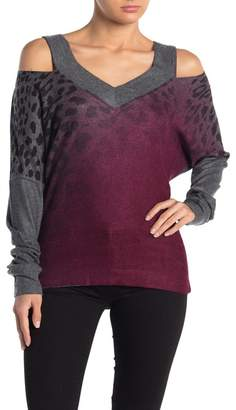 Couture Go V-Neck Cold Shoulder Hacci Sweater