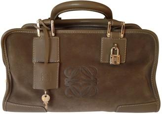 Loewe Amazona Khaki Suede Handbags