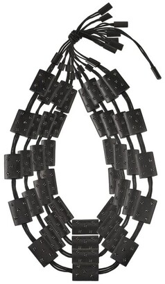 Natori Acacia Wood With Silver Four Layer Necklace Black O/S