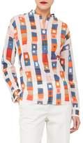 Akris Long-Sleeve Striped Cotton Tunic Blouse