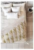 "Deny Designs Bright Gold Georgiana Paraschiv Triangle Pattern Sherpa Throw Blanket (50""X60"")"