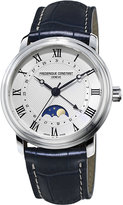 Frederique Constant Fc-330mc4p6 Classic Moon-phase Stainless Steel And Leather Watch