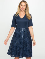 ELOQUII Plus Size Fit and Flare Dress with Sequin Lace Skirt