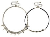 Women's Necklace Choker Duo with Curb chain, Faux Suede, and Round Textured Castings-Black