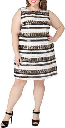 Maree Pour Toi Stripe Sequin Shift Dress