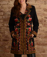Paparazzi Black & Red Floral Embroidered Blazer