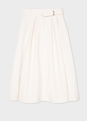 Paul Smith Women's Cream Corduroy Skirt With Belt