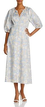 Rebecca Taylor Satin Leaf Midi Dress