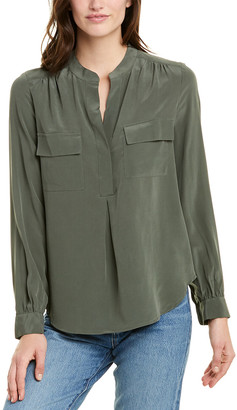 Splendid Pleated Front Silk Blouse