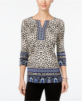 JM Collection Mixed-Print Top, Only at Macy's
