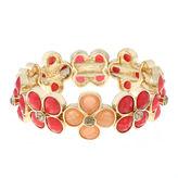 Liz Claiborne Orange Flower Gold-Tone Stretch Bracelet
