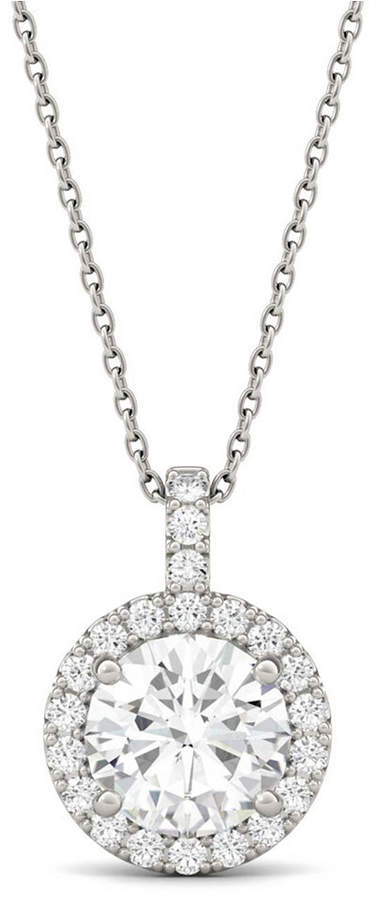 Charles & Colvard Moissanite Round Halo Pendant (2-1/5 ct. t.w. Diamond Equivalent) in 14k White Gold