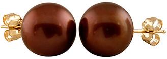Splendid Pearls 14K 10-10.5Mm Freshwater Pearl 10Mm Brown Round Pearl Stud Earrings