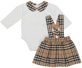 BURBERRY KIDS Baby cotton onesie and skirt set