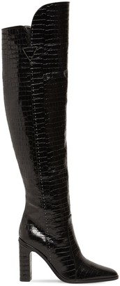 Max Mara 100mm Beboot Croc Embossed Leather Boots