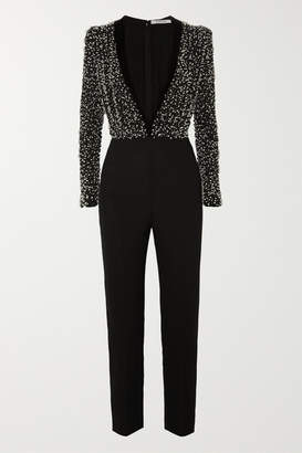 Givenchy Velvet-trimmed Bead-embellished Silk-crepe Jumpsuit - Black