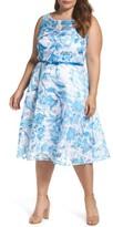 Gabby Skye Plus Size Women's Floral Organza Fit & Flare Dress