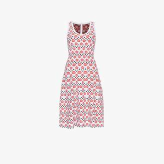 Alaia Floral And Dot Midi Dress