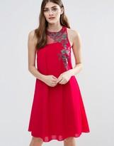 Little Mistress Embroidered Chiffon Shift Dress