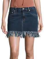 Tularosa Aubrey Fringed Denim Mini Skirt