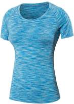 Zhhmeiruian Ladies Sports Workout Quick-Dry Short Sleeve Elasticity Slim T-Shirt