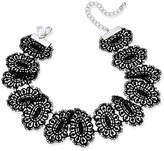 INC International Concepts Silver-Tone Black Lace Ribbon Choker Necklace, Created for Macy's