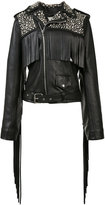 Rodarte studded biker jacket - women - Silk/Leather - M