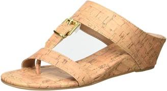 Rampage Women's Senorita Cork Demi-Wedge T-Strap Thong Sandal 6.5 M US
