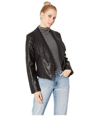 BB Dakota Take The 101 Drape Front Rippled Vegan Leather Jacket