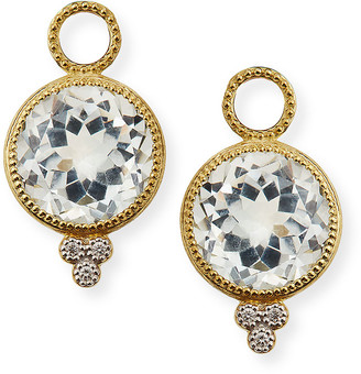 Jude Frances 18k Provence Round Earring Charms, White Topaz