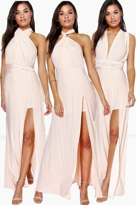 boohoo Multiway Split Leg Maxi Bridesmaid Dress