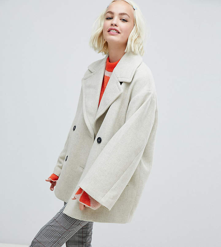 Monki double-breasted jacket in creme