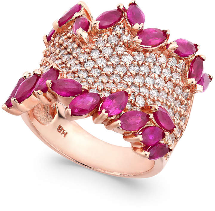 Effy Rosa by Ruby (3-1/4 ct. t.w.) & Diamond (1-3/8 ct. t.w.) Ring in 14k Rose Gold