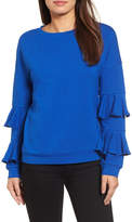 Halogen Ruffle Sleeve Sweatshirt (Regular & Petite)